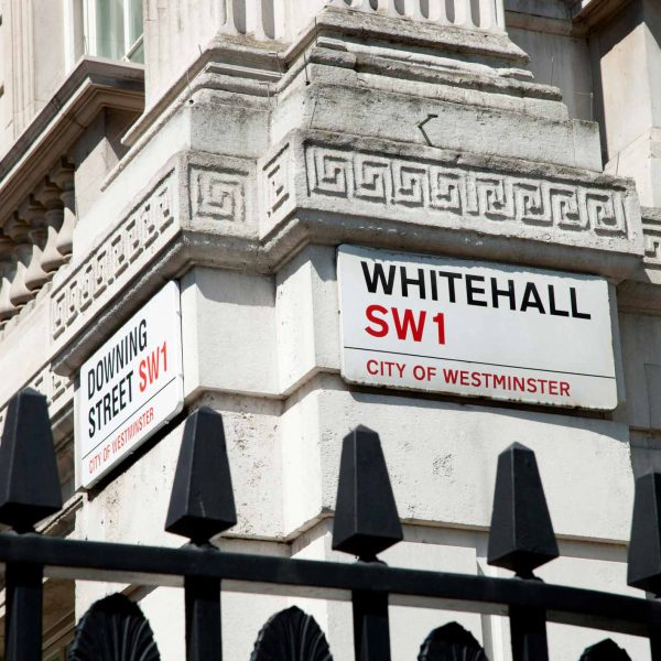 Whitehall street sign in London